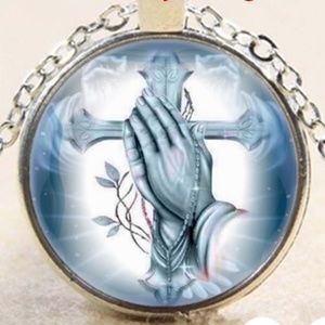 Jewelry - 🆕️ 2/$35 Glass Silver Prayer Charm & Necklace